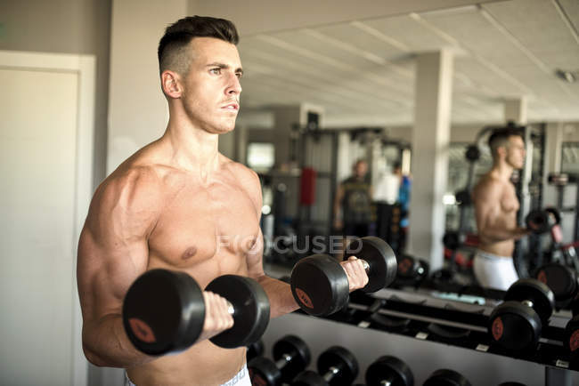 Man lifting weights training biceps in gym — Stock Photo