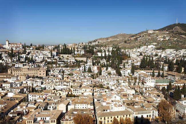 España, Andalucía, Granada, vista del barrio de Albayzin - foto de stock