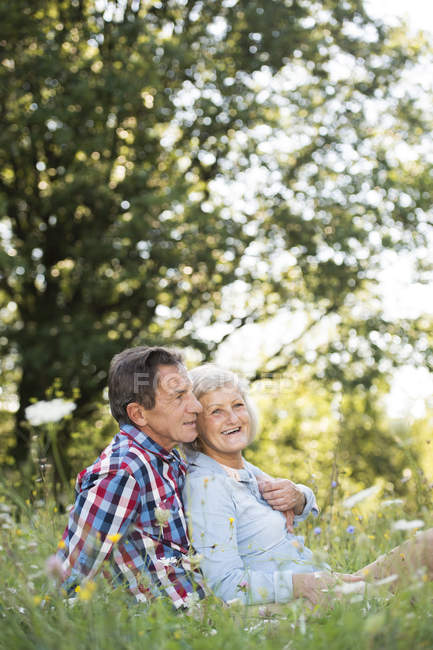 Senior couple relaxing together on a meadow — Stock Photo