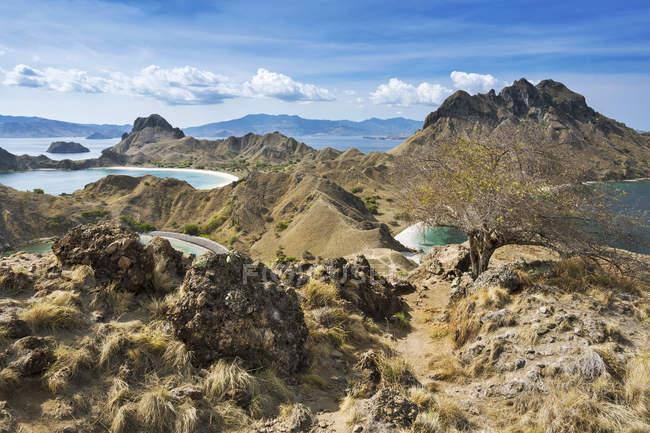 Vista de Nationalpark Komodo, Padar Island, Indonesia, Nusa Tenggara Timur, de colina rocosa durante el día - foto de stock