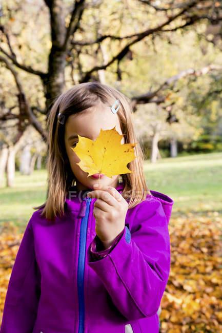 Menina, escondendo o rosto por trás de uma folha de outono — Fotografia de Stock