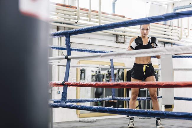 Porträt von zuversichtlich Boxerin im Boxring — Stockfoto