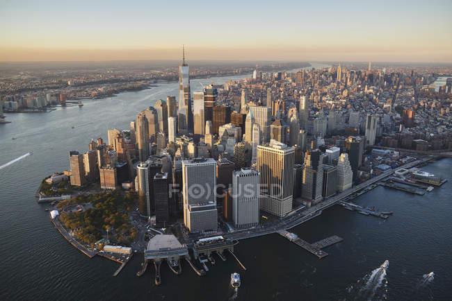 США, Нью-Йорк, повітряна фотографія, Нью-Йорку і острова Манхеттен — стокове фото
