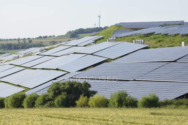 Solar panels field in landscape, Franconia, Bavaria, Germany — Stock Photo