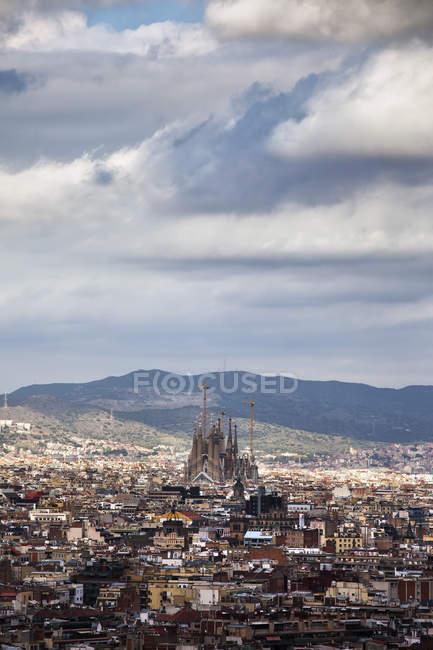 Spain, Barcelona, cityscape from Palau Nacional to Sagrada Familia — Stock Photo