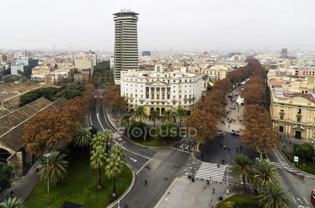 Spain, Barcelona, cityscape as seen from Columbus column with Ramblas — Stock Photo