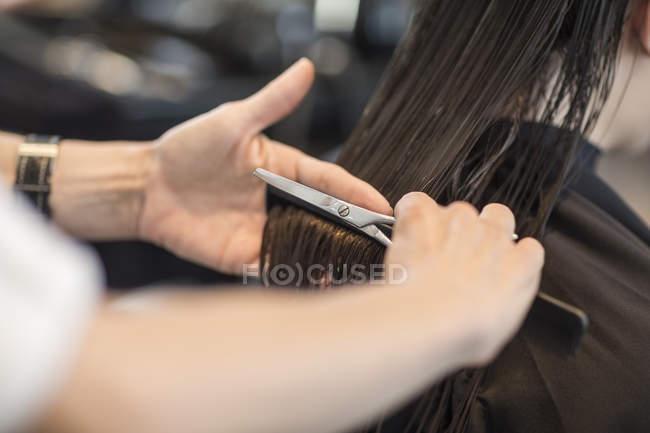 Hairdresser cutting hair of customer — Stock Photo