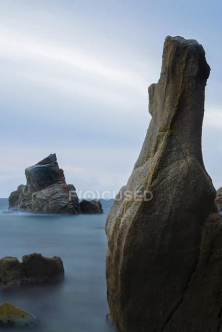 Spain, Costa Brava, Lloret de Mar, rock formations at Cala dels Frares — Stock Photo