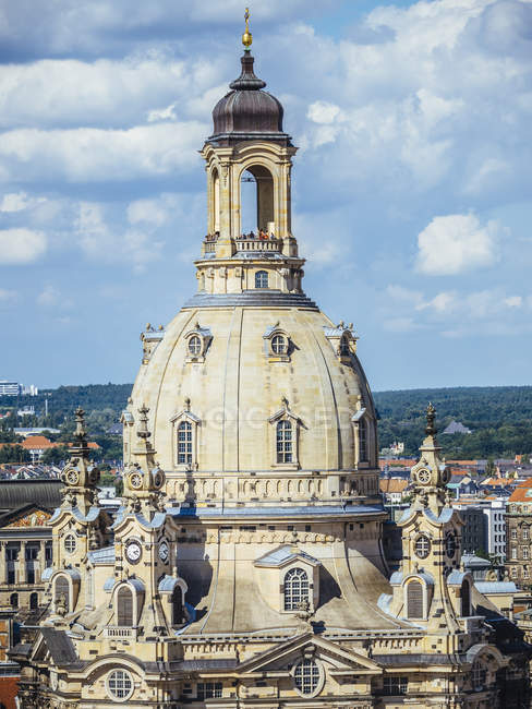 Deutschland, dresden, kuppel der frauenkirche in der altstadt — Stockfoto