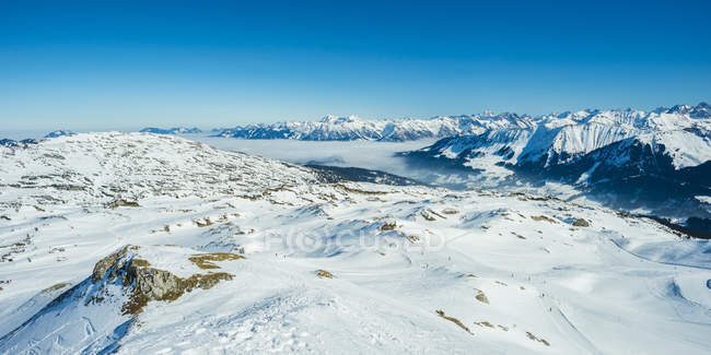 Austria, Vorarlberg, Kleinwalsertal, Gottesacker plateau, Hahnenkoepfle, in the background Allgaeu Alps - foto de stock