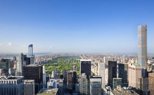 USA, New York City, cityscape of Midtown Manhattan and Central Park from above — Stock Photo