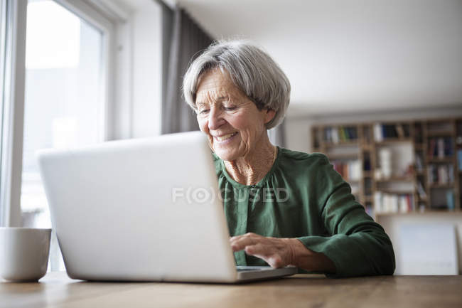 Portrait of senior woman using laptop at home — Stock Photo