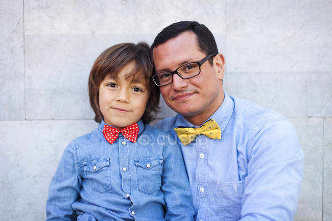 Father and son wearing bow ties, portrait — Stock Photo
