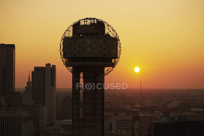 Stati Uniti, Texas, Dallas, fotografia aerea di Reunion Tower ad alba — Foto stock