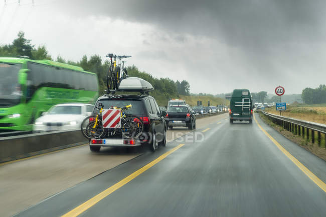 Germany, traffic within autobahn road works — Stock Photo