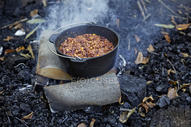 Pot of stew on bonfire in forset — Stock Photo
