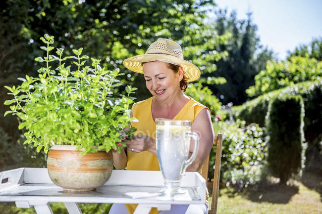 Smiling mature woman caring for potted herbaceous plant in garden — Stock Photo