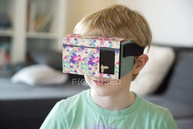 Portrait of boy with virtual reality glasses — Stock Photo