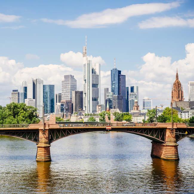 Stadtbild finanziellen Bezirk Frankfurt Am Main, Deutschland, Europa — Stockfoto