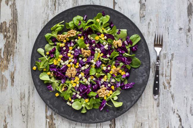 Salat mit Salat, Rotkohl, Mais und Feta auf Teller — Stockfoto