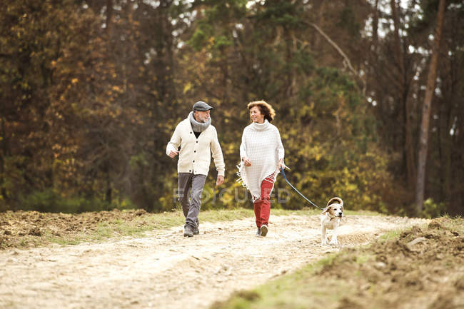 Senior couple walking in the woods with her dog — Stock Photo