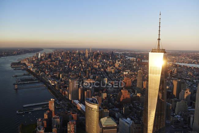 США, Нью-Йорк Нью-Йорк, повітряні міський пейзаж з Всесвітнього торгового центру і річки Гудзон — стокове фото