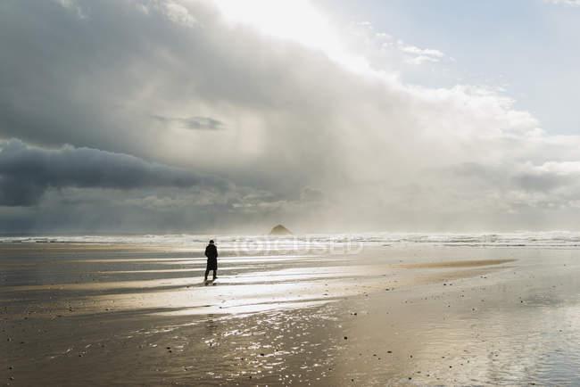 Frau am Strand mit bewölkten lily, Frankreich, Bretagne, finistere, Halbinsel Crozon — Stockfoto