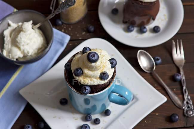 Coppa al cioccolato con panna montata, zucchero di canna e mirtilli — Foto stock