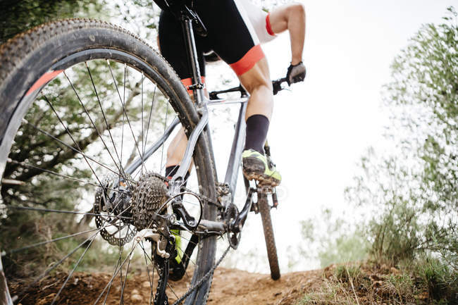 Close-up of mountainbiker on forest trail — Stock Photo