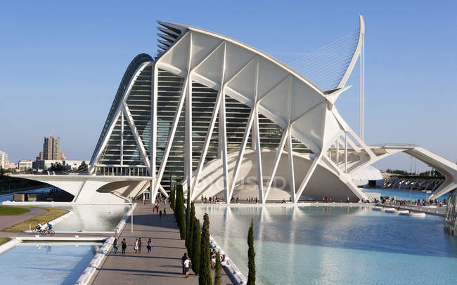 Spain, Valencia, Ciudad de las Artes y de las Ciencias, view to Museo de las Ciencias Principe Felipe — стокове фото