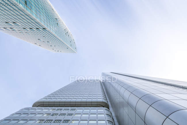 Facades of two office towers seen from below, Frankfurt, Germany — Stock Photo