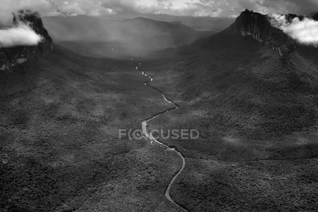 Венесуела, Болівар, Canaima Національний парк, Canaima, Ріо Carrao, чорно-білий малюнок — стокове фото