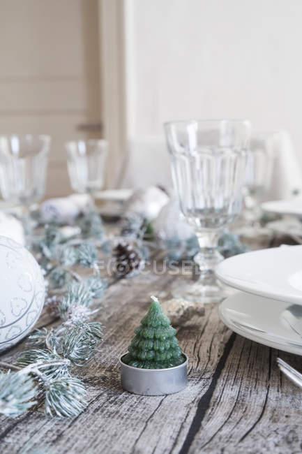 Чай, легкі форми, як ялиці на заклав оформлені таблиці — стокове фото