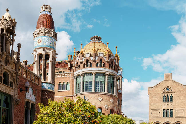Spain, Barcelona, towers of Sant Pau Art Nouveau Site  during daytime — Stock Photo