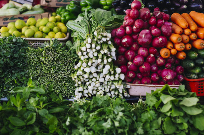 Vegetables and herbs at vegetable market — Stock Photo