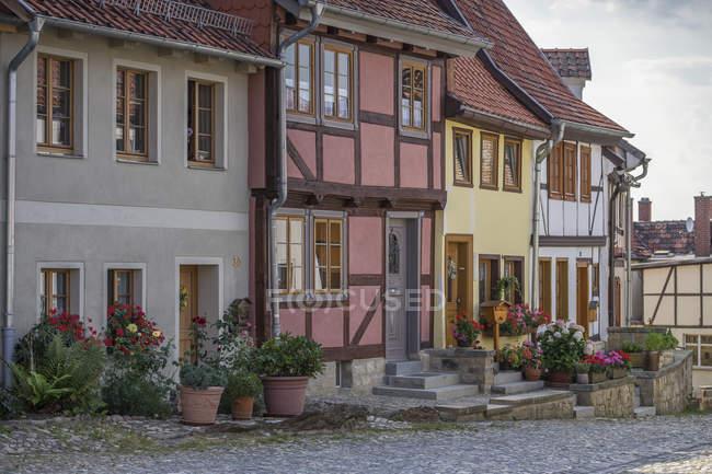 Німеччина, Кведлінбург, Muenzenberg, старі Фахверкові будинки — стокове фото