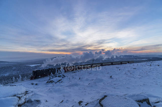 Germany, Saxony-Anhalt, Harz National Park, Brocken, Harz Narrow Gauge Railway in winter — Stock Photo
