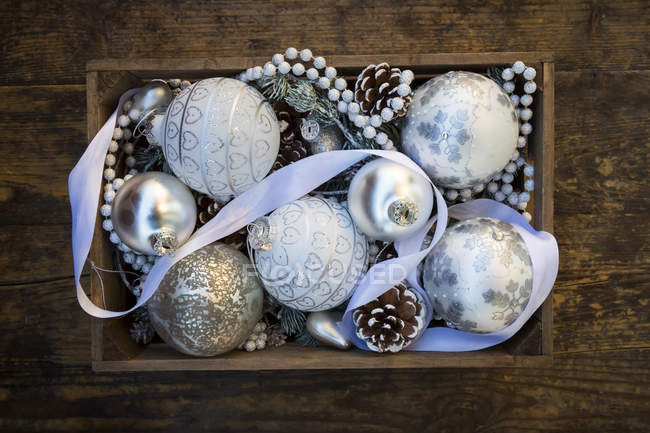 Top view of wooden box of Christmas decoration — Stock Photo