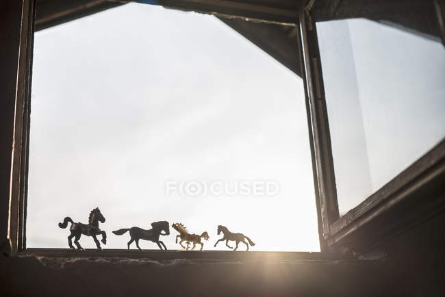 Silhouettes of four toy horses standing at opened window — Stock Photo