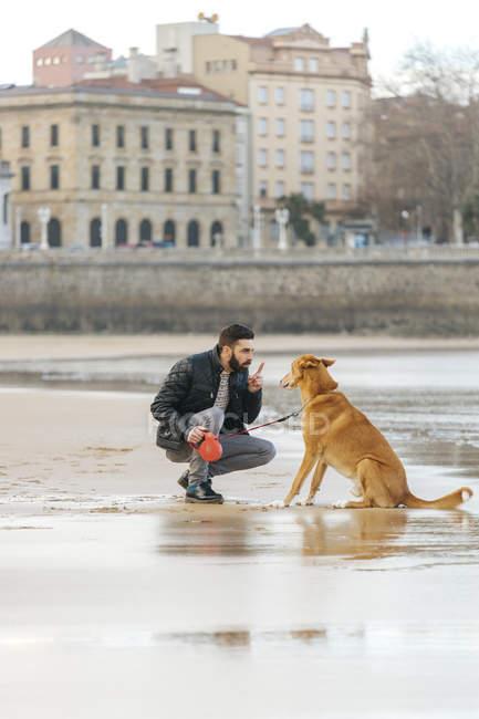 Espagne, Gijon, homme parlant avec son chien sur la plage — Photo de stock