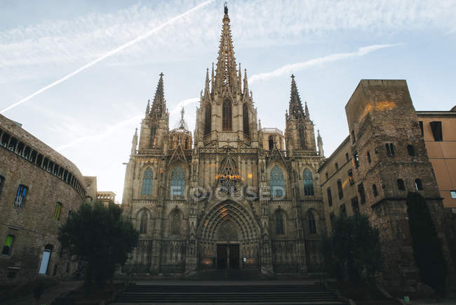 Spain, Barcelona, view to Barcelona Cathedral in the Gothic Quarter — Stock Photo