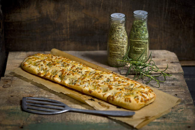 Focaccia bread with garlic and thyme — Stock Photo