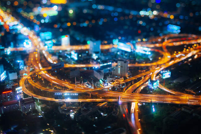 Thailand, aerial view of  Traffic in Bangkok at night — Stock Photo