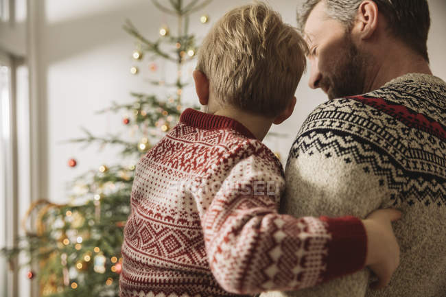 Father and little son looking at Christmas tree at home — Stock Photo