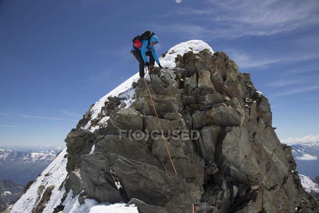 Switzerland, Pennine Alps, descent from Aletschhorn — Stock Photo