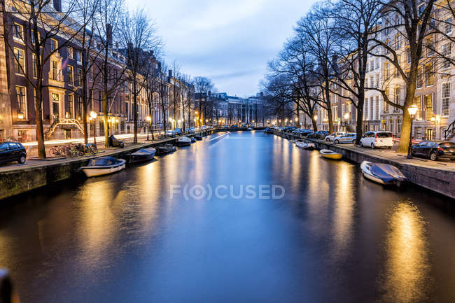 Netherlands, Holland, Amsterdam, Canal in the evening — Stock Photo