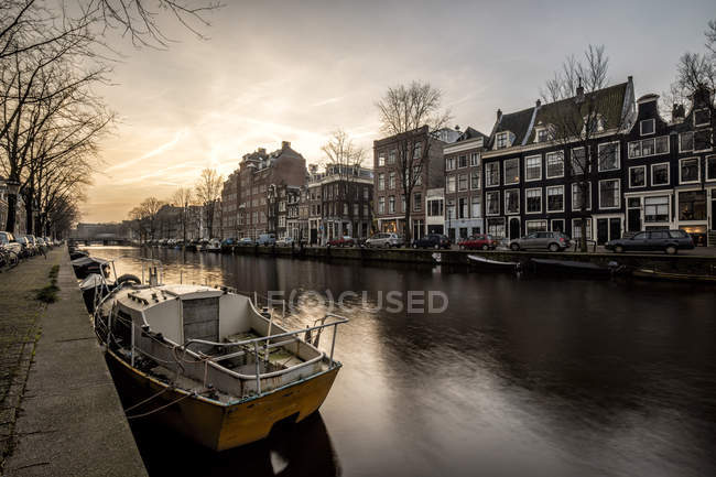 Netherlands, Holland, Amsterdam, Canal at sunset — Stock Photo