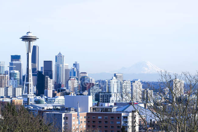View of cityscape with space needle and mountain at daytime, Seattle, Washington, USA — Stock Photo