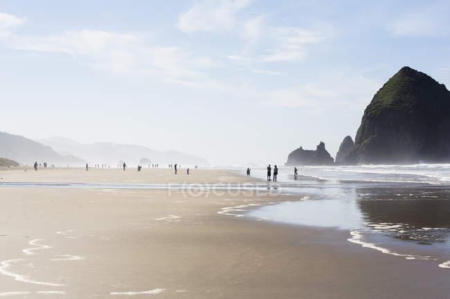 USA, Oregon, Cannon Beach, Haystack Rock, beach — Stock Photo