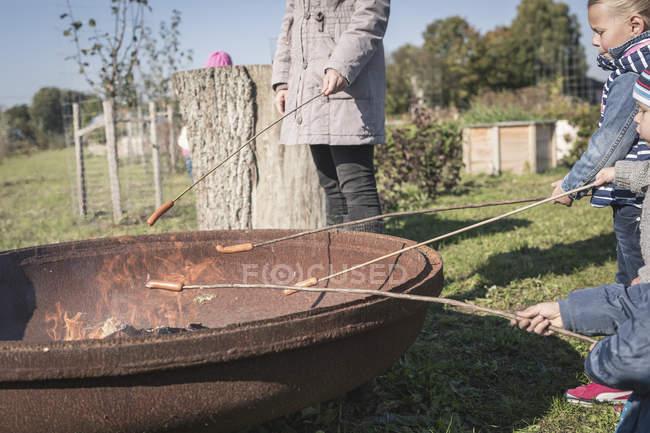 Kinder Braten Würstchen am Kamin — Stockfoto